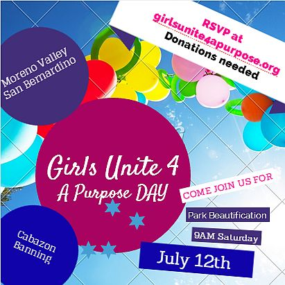 GIRLS UNITE 4 A PURPOSE DAY - PARK BEAUTIFICATION JULY 12TH JOIN US!!!!